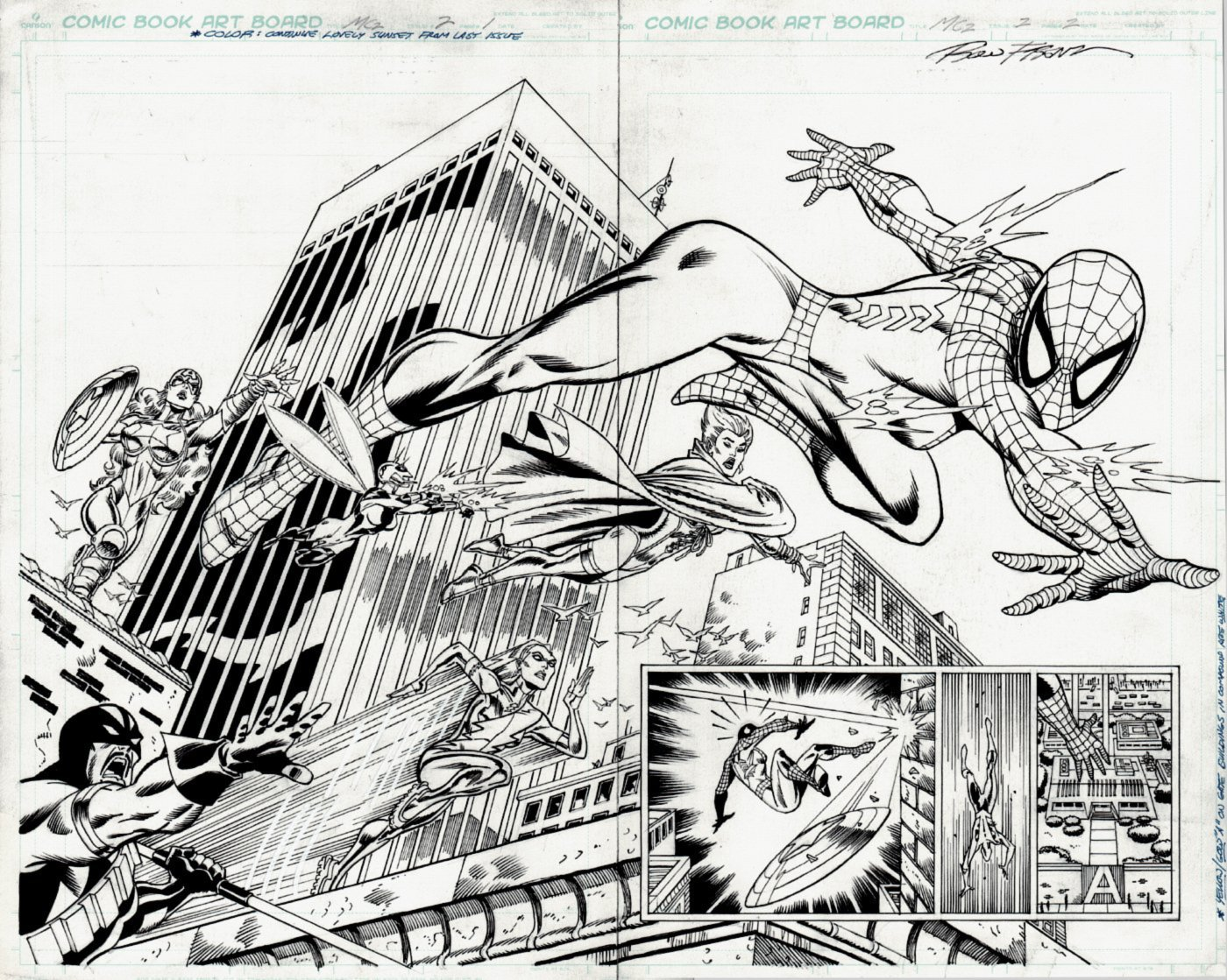 Amazing Spider-Girl #2 p 2-3 Double Spread Splash (AWESOME DOUBLE SPREAD WITH 6 SUPERHEROES!) 2006