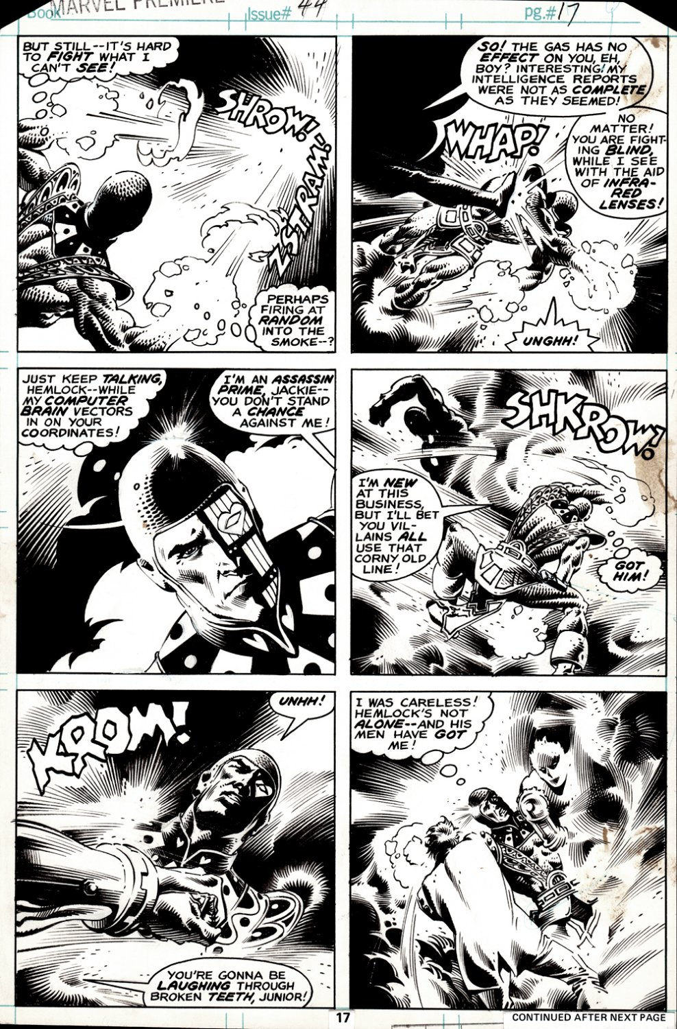 Marvel Premiere #44 p 17 (BEST BATTLE PG IN BOOK! FIRST JACK OF HEARTS SOLO ISSUE BY KEITH GIFFEN!) 1978
