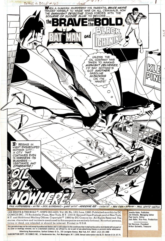 Brave and the Bold #163 Splash (HUGE BATMAN! Black Lightning Also!) 1980