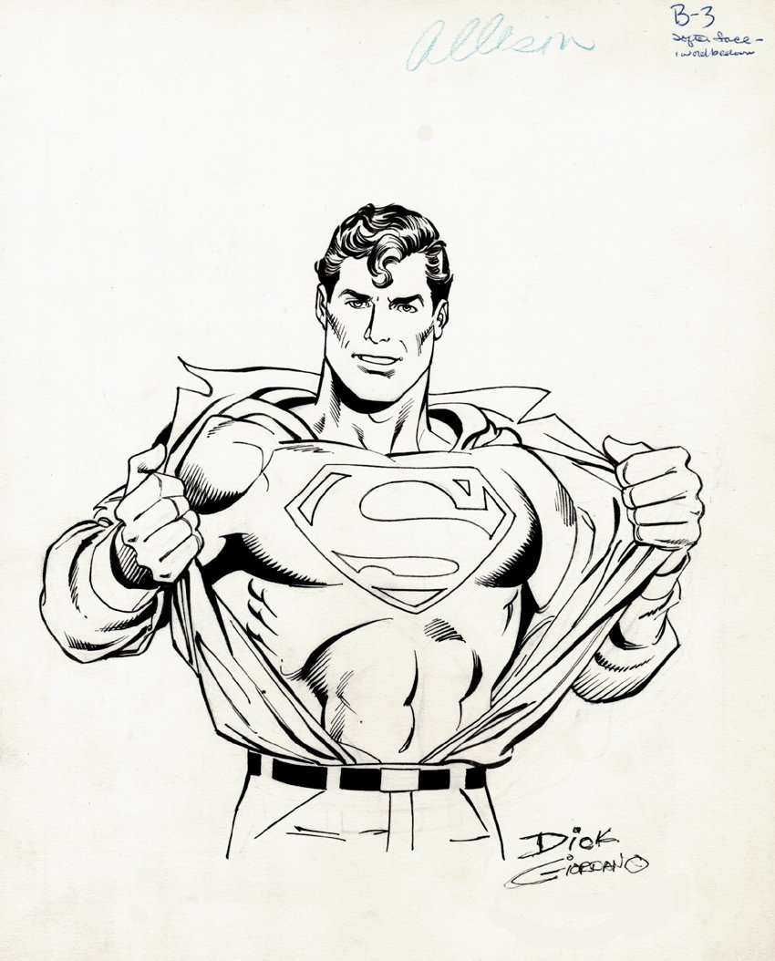 Superman 1986 DC Style Guide (SOLD LIVE ON 'DUELING DEALERS OF COMIC ART' EPISODE #34 PODCAST ON 9-1-2021(RE-WATCH THIS FUNNY ART SELLING SHOW HERE)