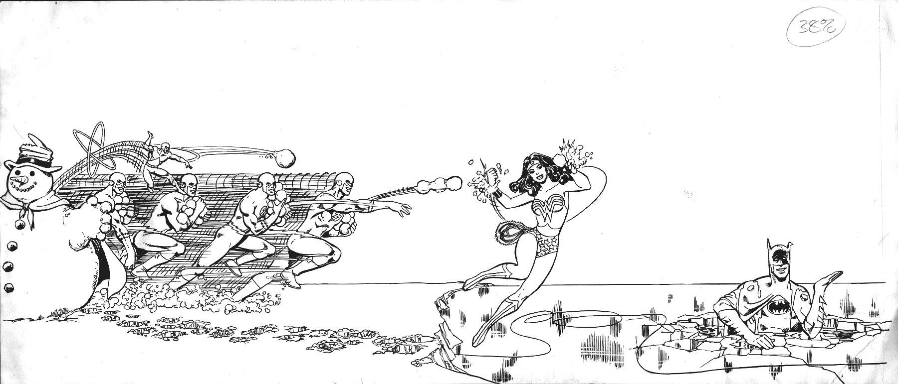 Batman, Wonder Woman, Flash, Atom Large DC Advertising Art (1970s)