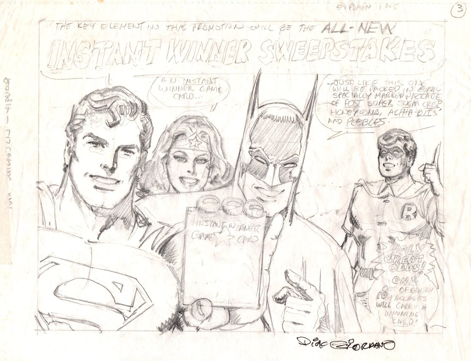 JLA Pencil Pinup Used For Post Cereal Merchandising (1970s)