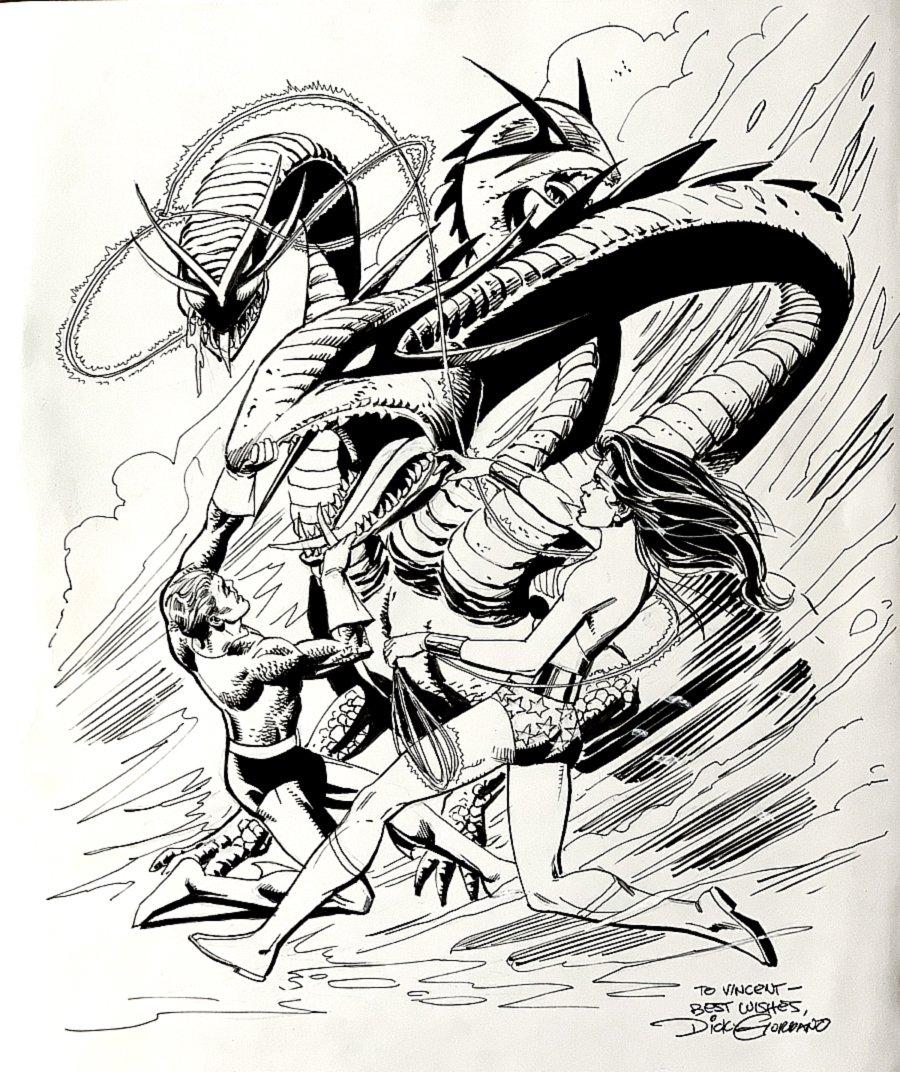 Wonder Woman / Aquaman Battling 3 Headed Serpent Pinup (Large)