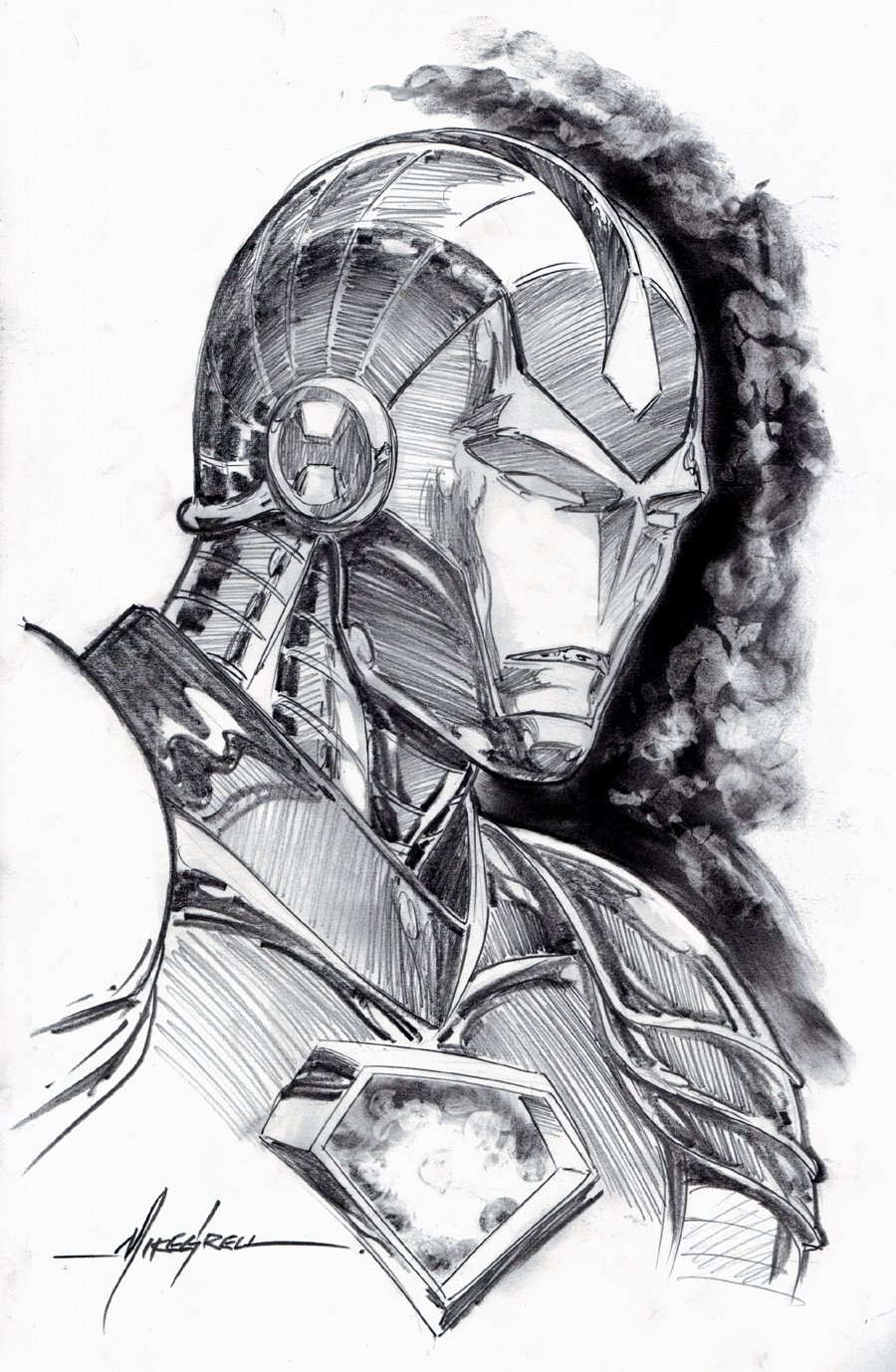 Iron Man Large Pinup (SOLD LIVE ON 'DUELING DEALERS OF COMIC ART' EPISODE #31 PODCAST ON 8-14-2021(RE-WATCH THIS FUNNY ART SELLING SHOW HERE)
