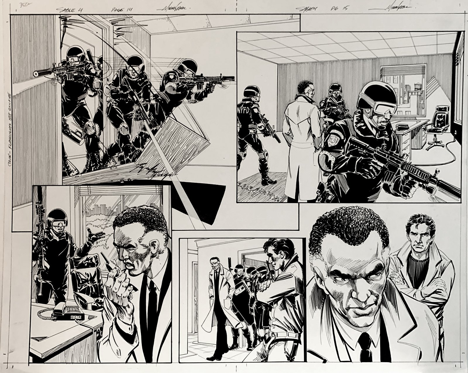 Jon Sable, Freelance: Bloodtrail #4 p 14-15 Huge Double Page Spread On 1 Large Board! (2005)