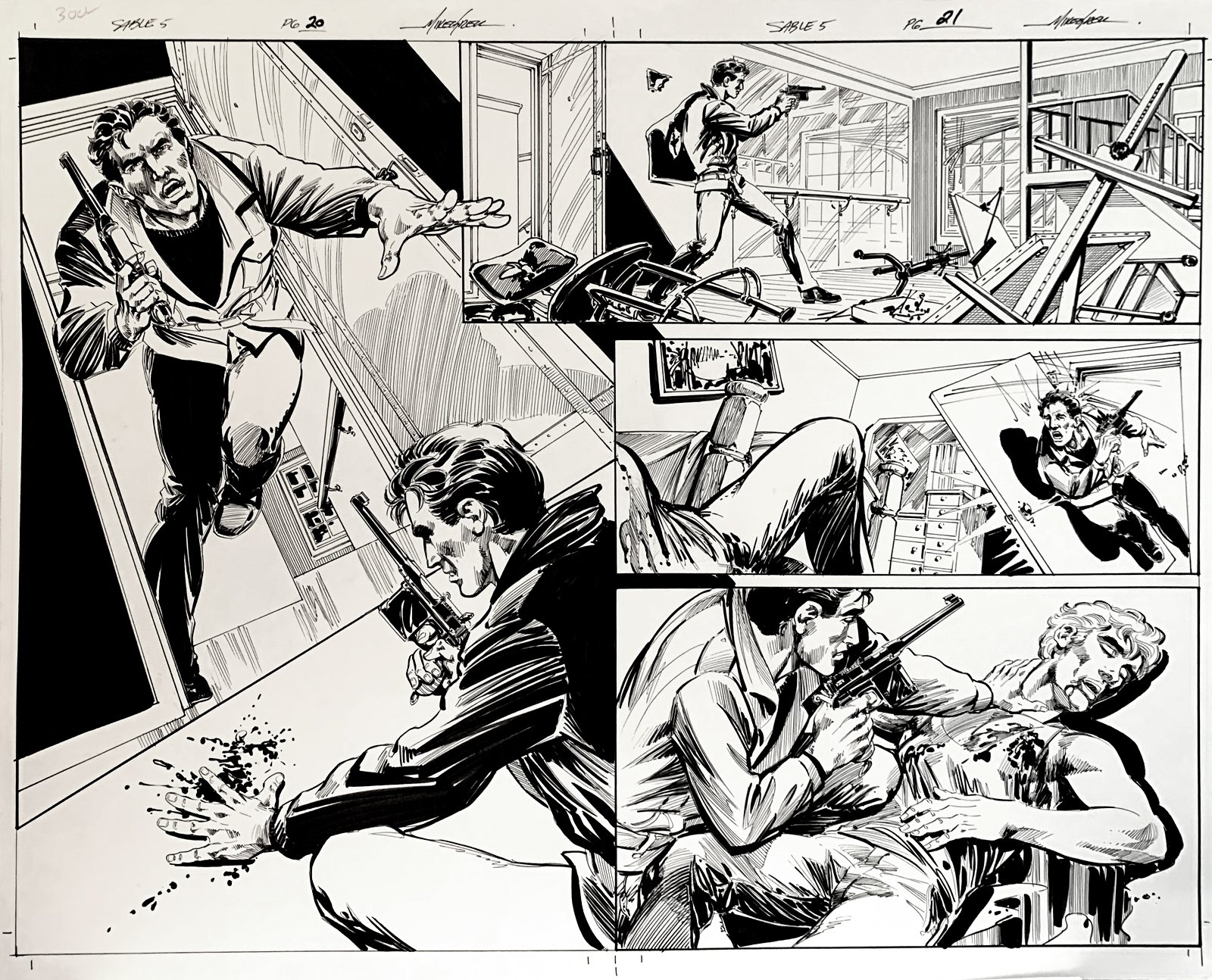 Jon Sable, Freelance: Bloodtrail #5 p 20-21 Huge Double Page Spread On 1 Large Board! (2005)