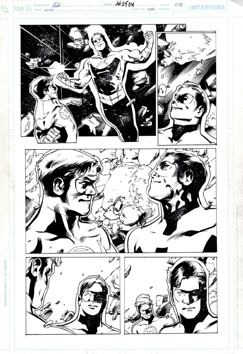 Ion #5 p 9 (2006) GREAT page with Ion [Kyle Rayner] & Green Lantern [Hal Jordan]