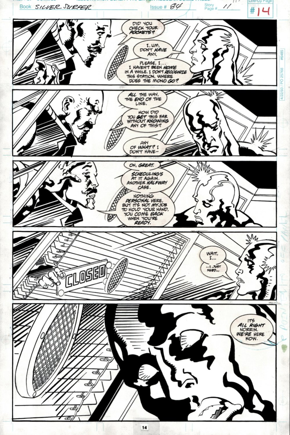 Silver Surfer #84 p 11 (SURFER IN EVERY PANEL AS HE TRIES TO MEET HIS DEAD PARENTS!) 1993