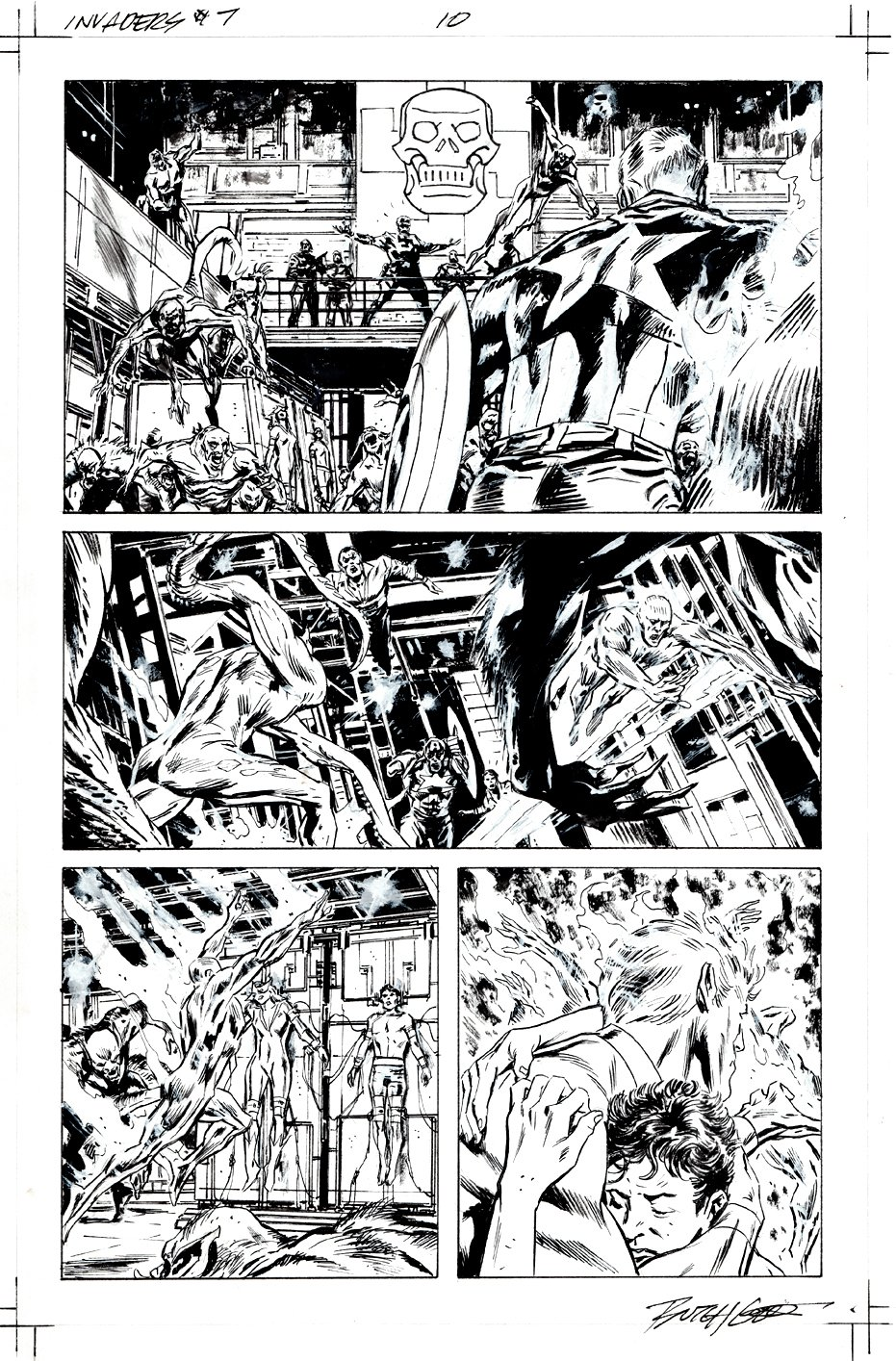 Invaders #7 p 10 (Sub-Mariner, Captain America, Human Torch Save The Invaders From Nazis!) 2019