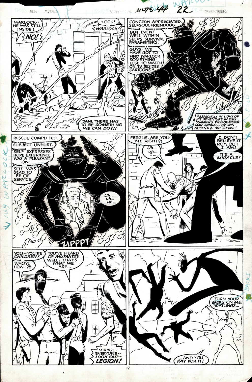 New Mutants #44 p 17 (ENTIRE TEAM IN ACTION!) 1986