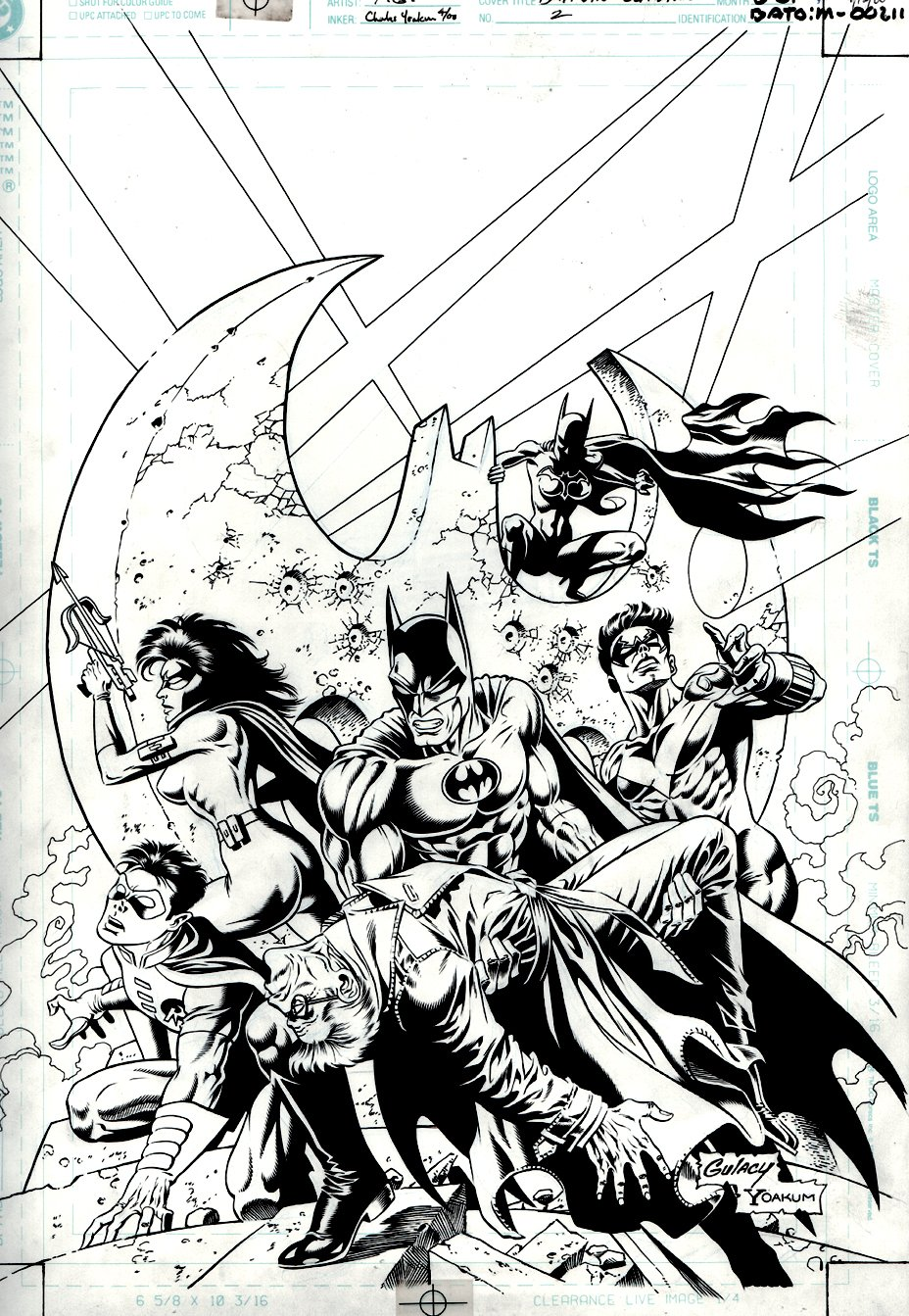 Batman: Outlaws #2 Cover (Batman, Nightwing, Batgirl, Huntress, Robin) 2000
