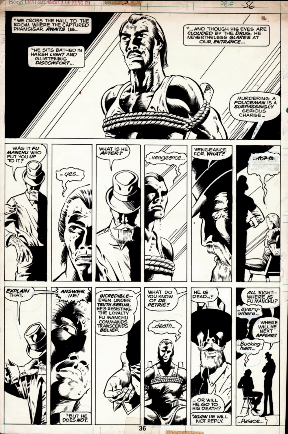 Giant-Size Master of Kung Fu #3 p 36 (Sir Denis Nayland Smith Interrogates The Evil Phansigar In Great Sequence!) 1974