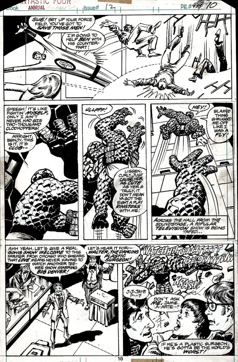 Fantastic Four Annual #12 p 10 (Mr. Fantastic, Invisible Woman, 2 Things Battle & Enter GONG SHOW!) 1977