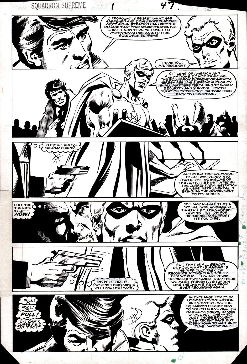 Squadron Supreme #1 p 47 (HISTORIC 1ST ISSUE PAGE WHERE HYPERION ANNOUNCES TO AMERICA THEY ARE TAKING OVER THE WORLD!) 1985