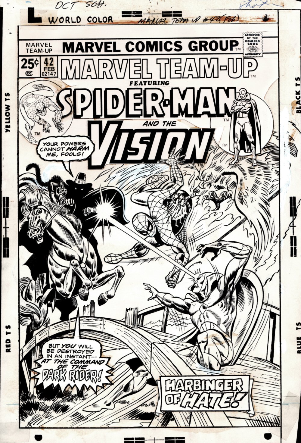 Marvel Team-Up #42 Cover Art (With Published Hand Colored Cover Guide! (Spider-Man & Vision Vs The Dark Rider) 1975