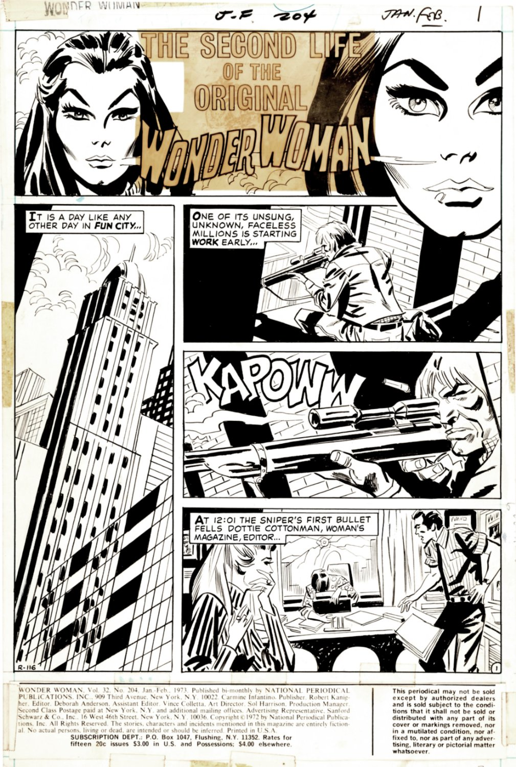 Wonder Woman #204 p 1 (SOLD LIVE ON 'DUELING DEALERS OF COMIC ART' EPISODE #39 PODCAST ON 10-4-2021(RE-WATCH THIS FUNNY ART SELLING SHOW HERE)