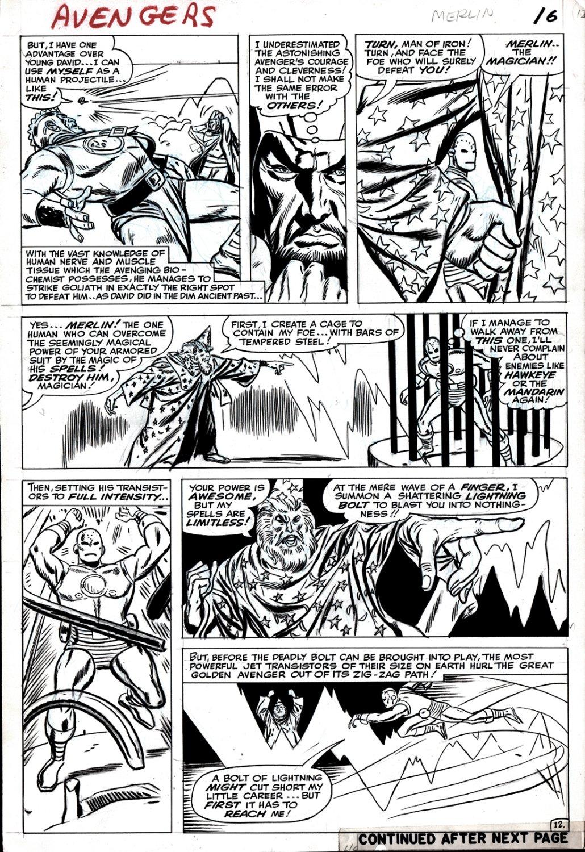 Avengers #10 p 12 (IRON MAN BATTLES MERLIN!) Large Art 1964