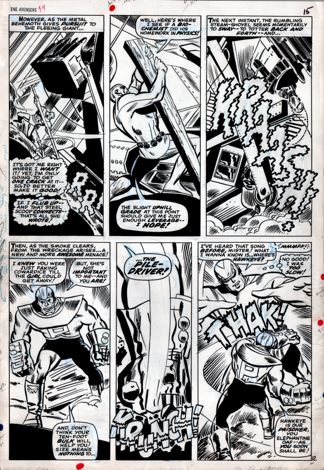 Avengers #39 p 12 (Goliath vs Pile-Driver!) Large Art -1966