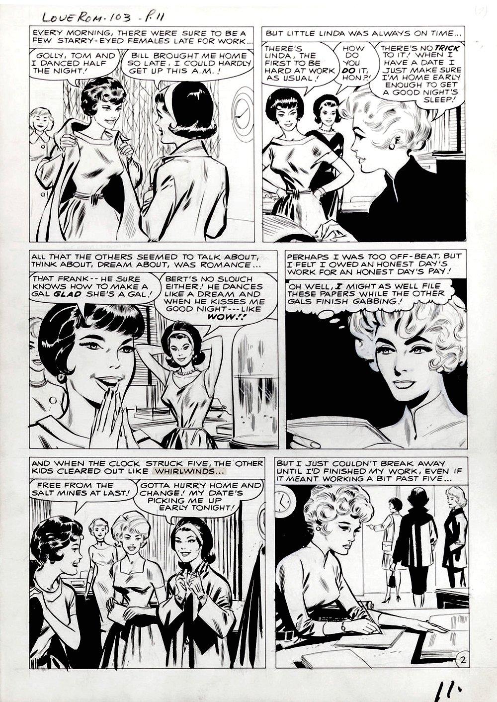 Love Romances #103 p 2 (DRAWN 2 MONTHS BEFORE TALES OF SUSPENSE #39!) Large Art - 1962
