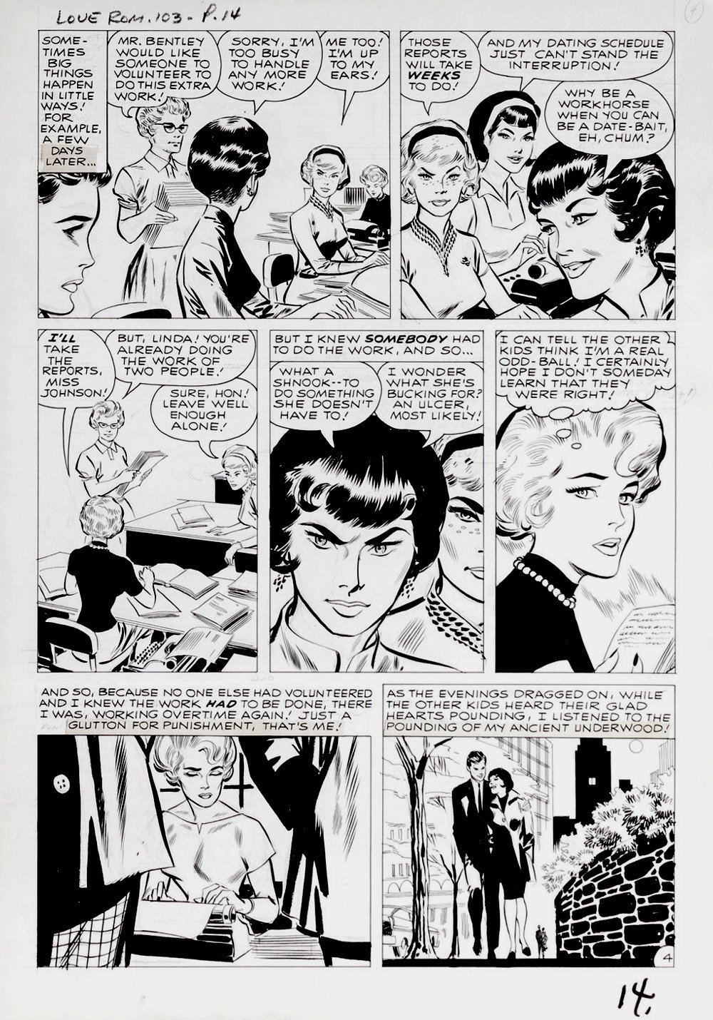 Love Romances #103 p 4 (DRAWN 2 MONTHS BEFORE TALES OF SUSPENSE #39!) Large Art - 1962