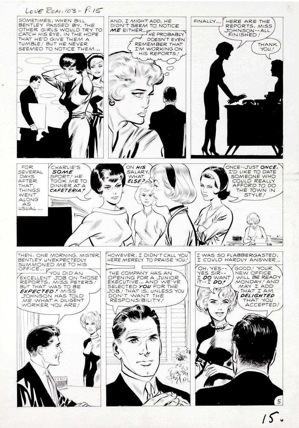 Love Romances #103 p 5 (DRAWN 2 MONTHS BEFORE TALES OF SUSPENSE #39!) Large Art - 1962