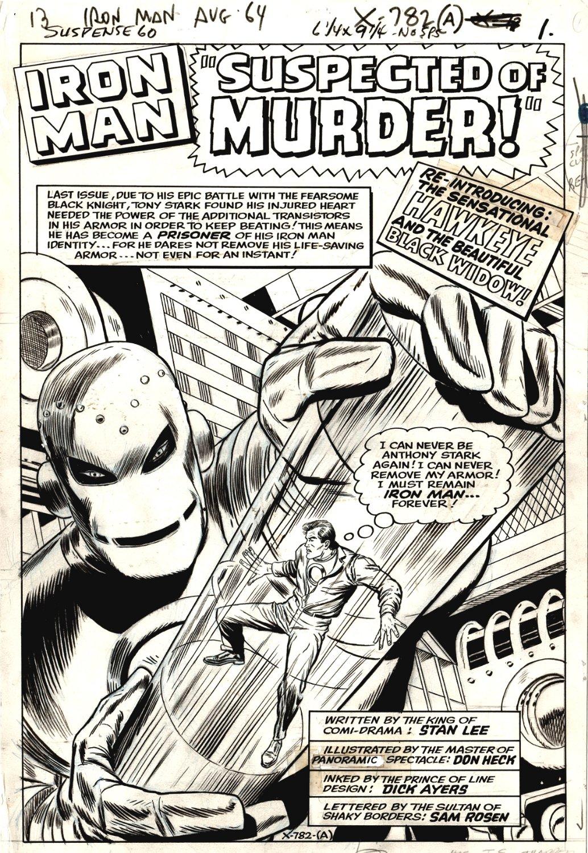 Tales of Suspense #60 p 1 SPLASH (IRON MAN BATTLES TONY STARK..WOW!) LARGE ART -1964