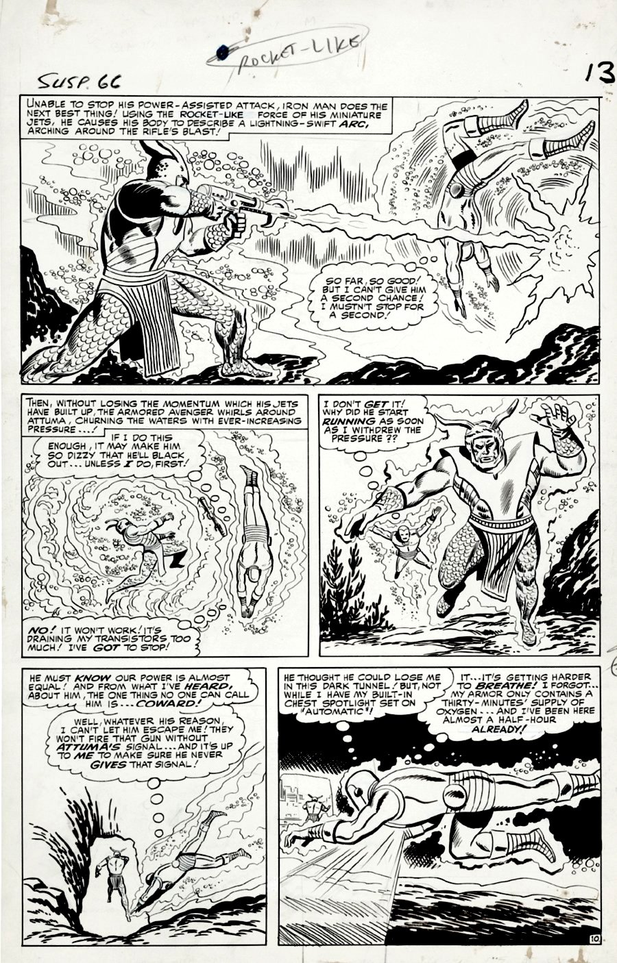 Tales of Suspense #66 p 10 (IRON MAN BATTLES ATTUMA IN EVERY PANEL!) Large Art -1964