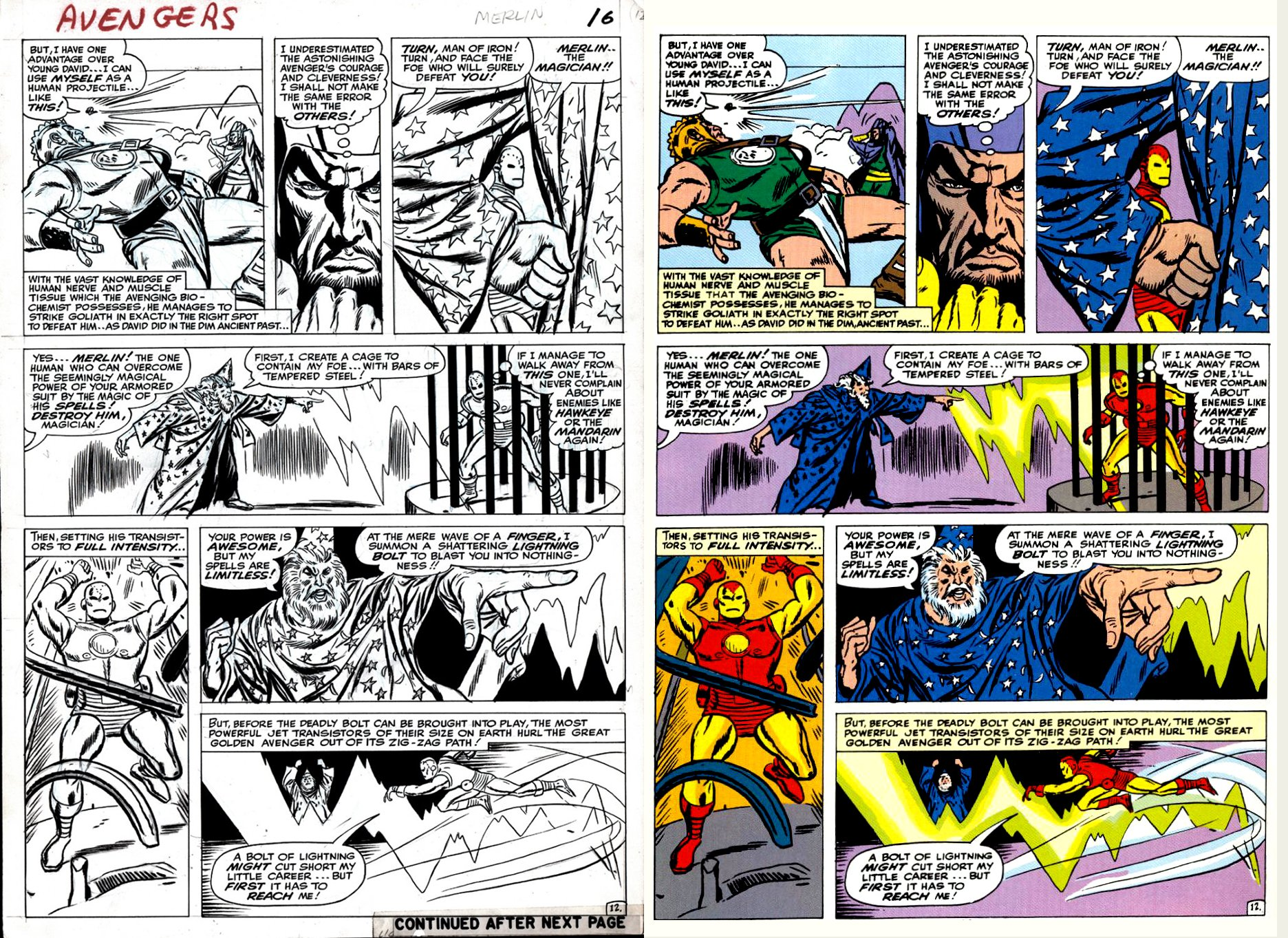 Avengers #10 p 12 (SOLD LIVE ON 'DUELING DEALERS OF COMIC ART' EPISODE #26 PODCAST ON 7-21-2021 (RE-WATCH THIS FUNNY ART SELLING SHOW HERE)