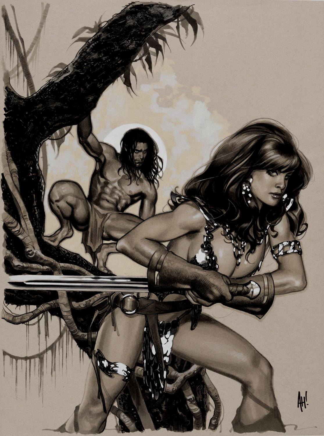 Red Sonja / Tarzan #1 Cover Painting (HUGE)