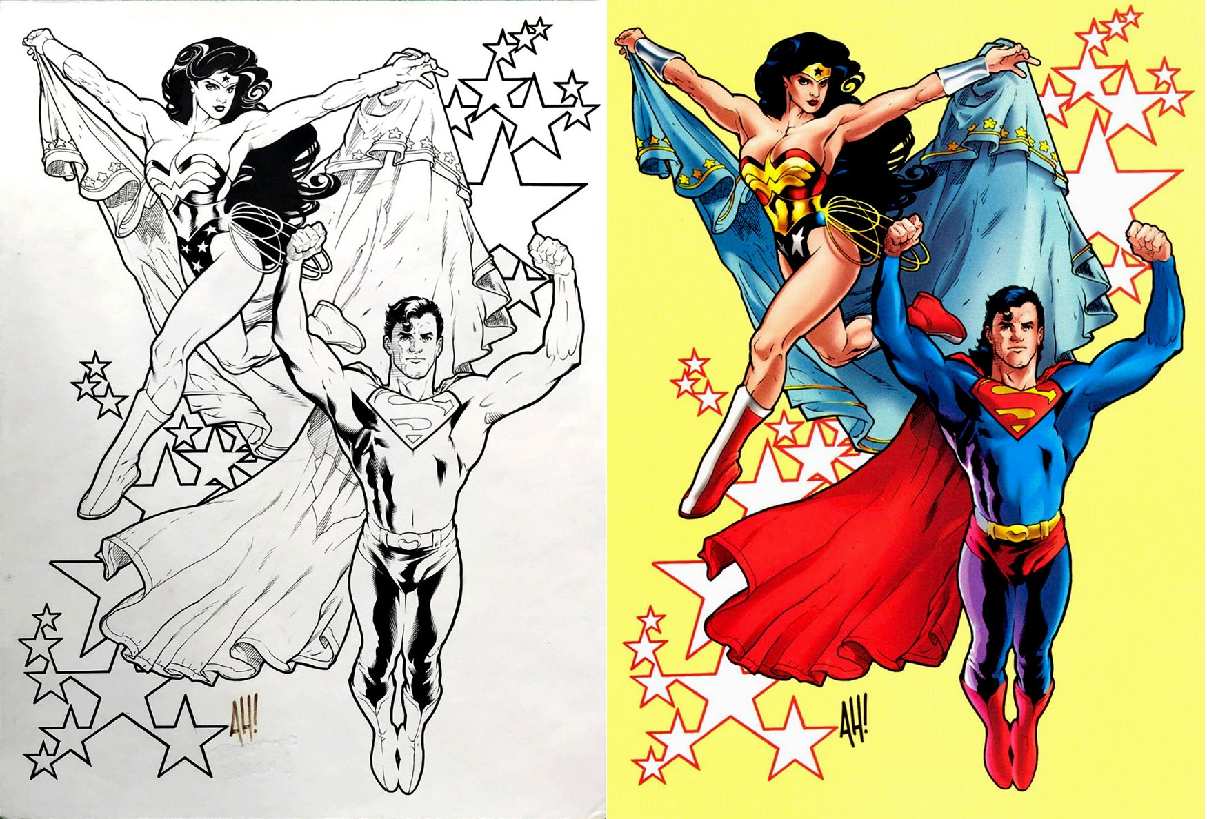 Superman: The Man of Steel Gallery #1 SPLASH (SOLD LIVE ON 'DUELING DEALERS OF COMIC ART' EPISODE #9 PODCAST ON 3-24-2021 (RE-WATCH OUR LIVE ART SELLING PODCAST HERE!)