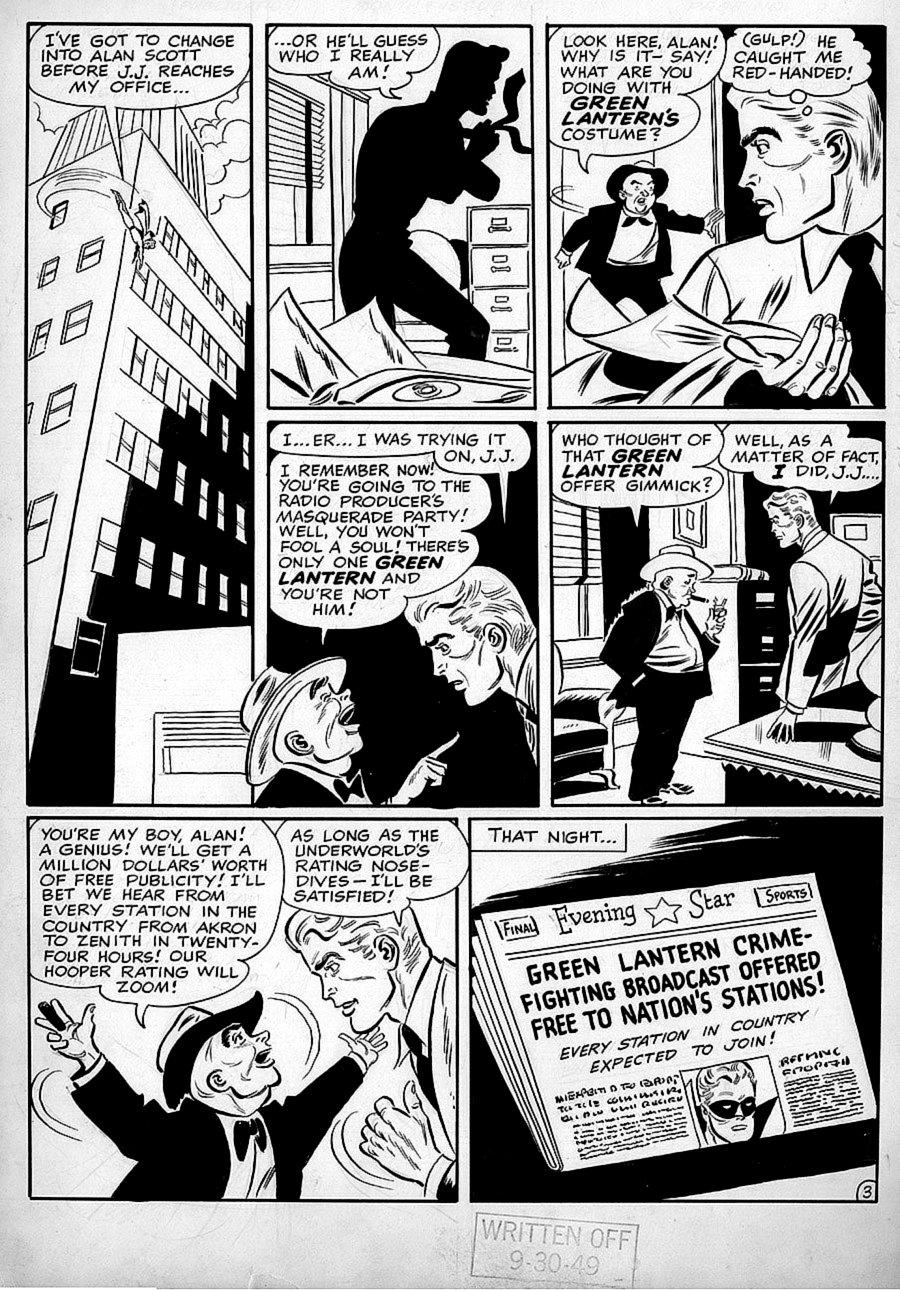 Golden Age Green Lantern #39 p 3 (Published in Green lantern #88) Large Art 1949