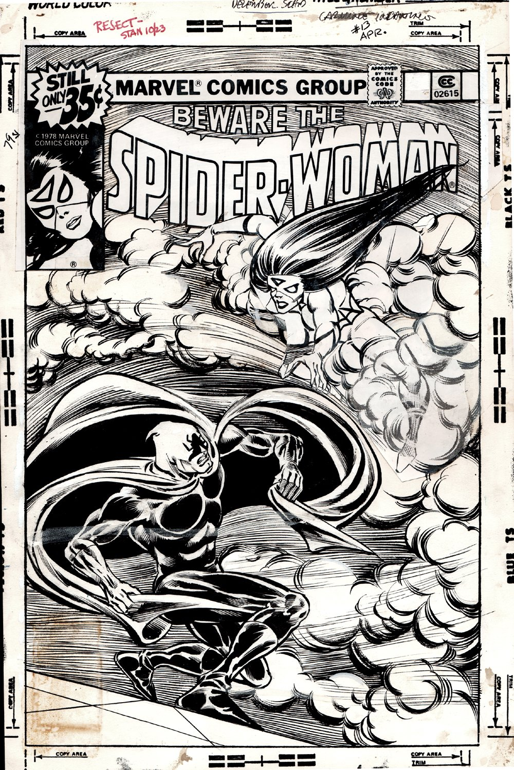 Spider-Woman #13 Unused Cover (1978)