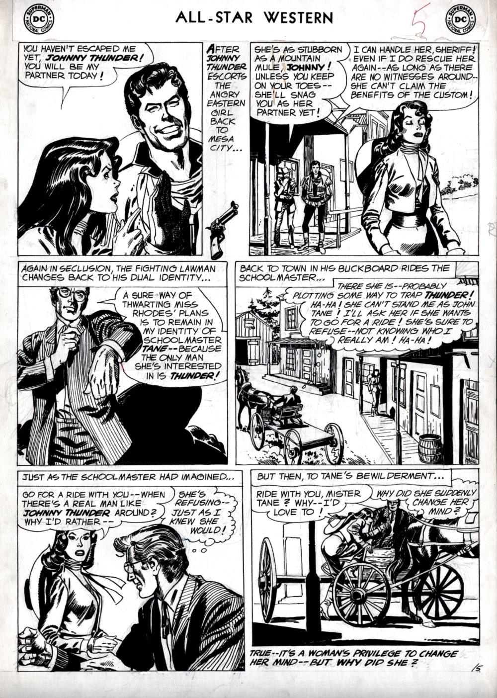 All Star Western #107 p 5 (JOHNNY THUNDER!) Large Art 1959