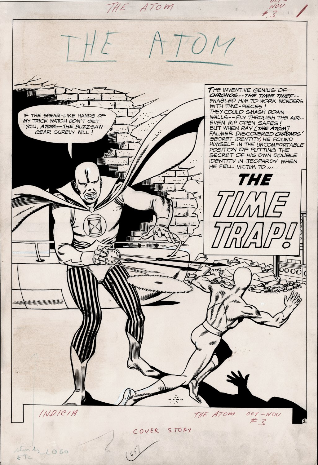 The Atom #3 (Complete 15 Page Story, VERY FIRST CHRONOS APPEARANCE!) Large Art - 1962