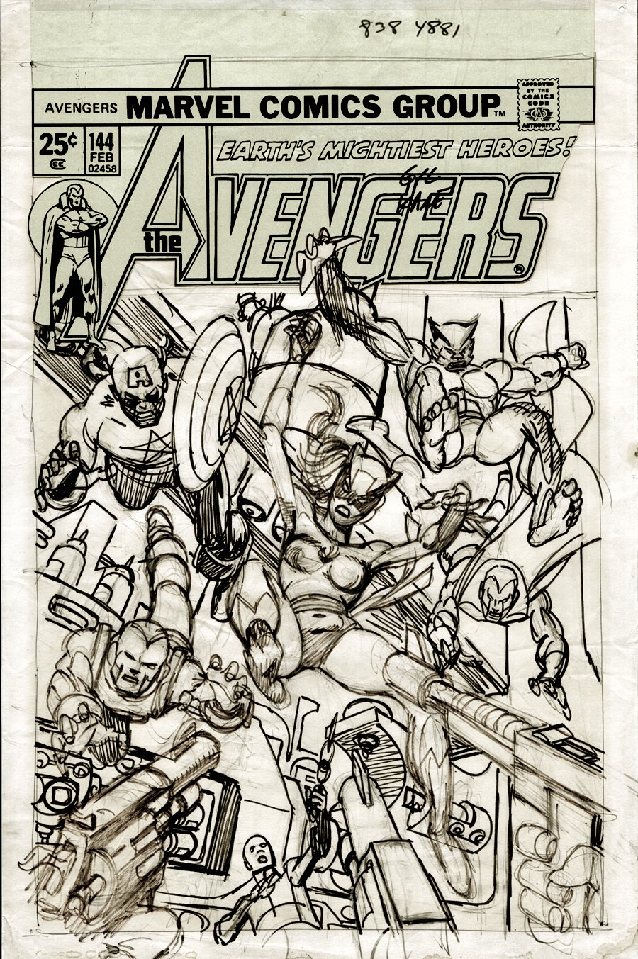 Avengers #144 FULL SIZE Cover Prelim (FIRST EVER HELLCAT DRAWING!) 1975