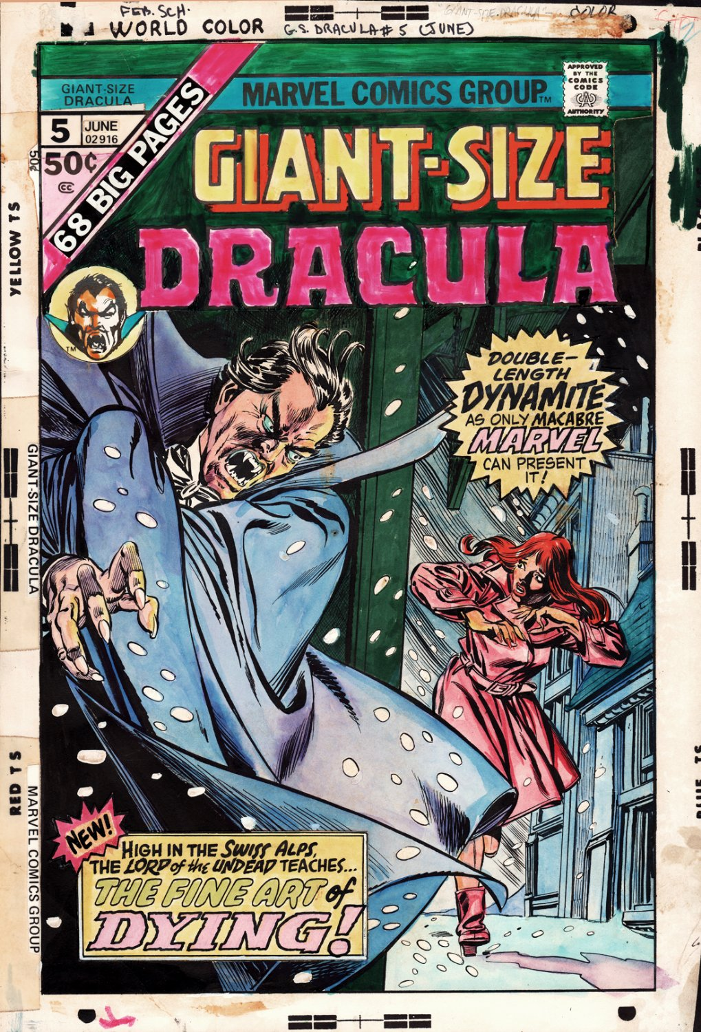 Giant-Size Dracula #5 Cover (Dracula Ready To Kill An Unsuspecting MJ Look-a-Like!) 1975