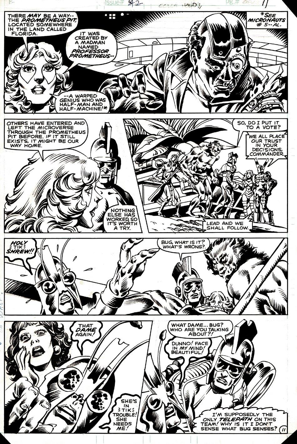Micronauts #42 p 11 (Arcturus Rann, Marionette, Devil, Bug, Acroyear, Janet Van Dyne-Wasp, Professor Prometheus!) 1982