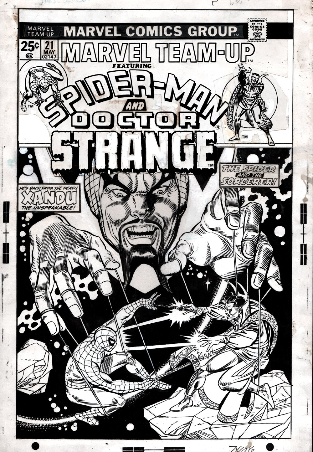 Marvel Team-Up #21 Cover (SPIDER-MAN BATTLES DR. STRANGE!) 1974