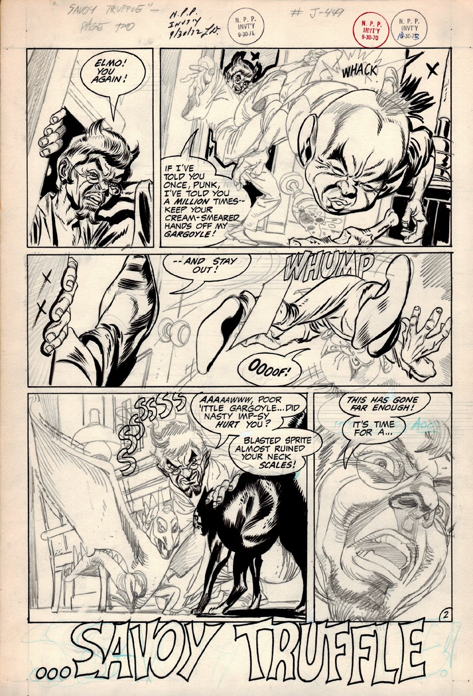 DC Silver Age House Of Mystery Unused Horror Page 2 Partially inked (CAIN & EVIL ELMO!) 1967