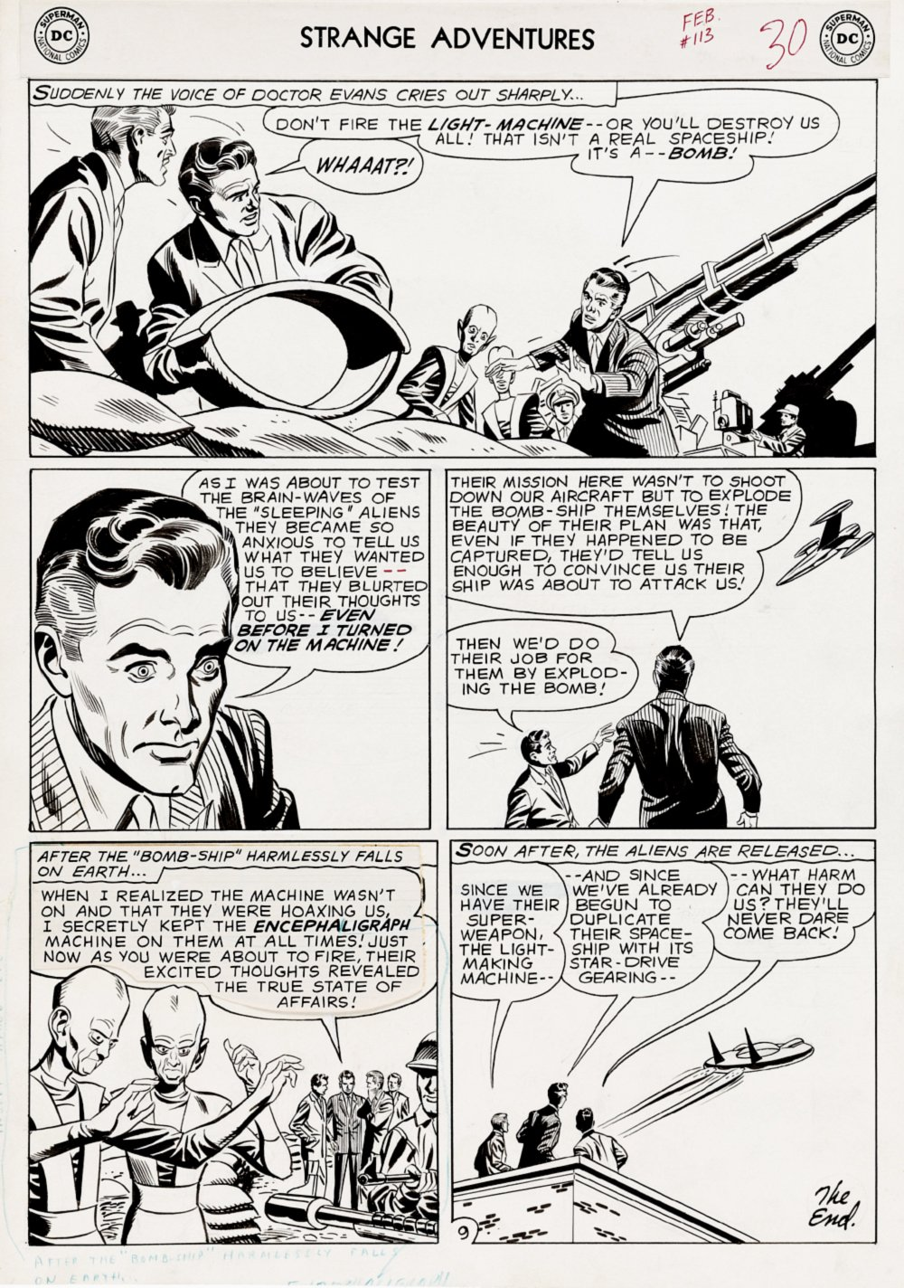Strange Adventures #113 p 9 (Large Art Science Fiction Final Story Alien Page) large Art - 1959