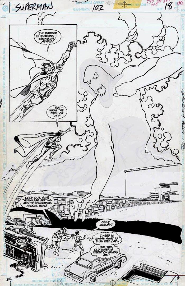 Superman #102 p 18 SPLASH (Superman Battles Giant Ghost Monster!) 1995