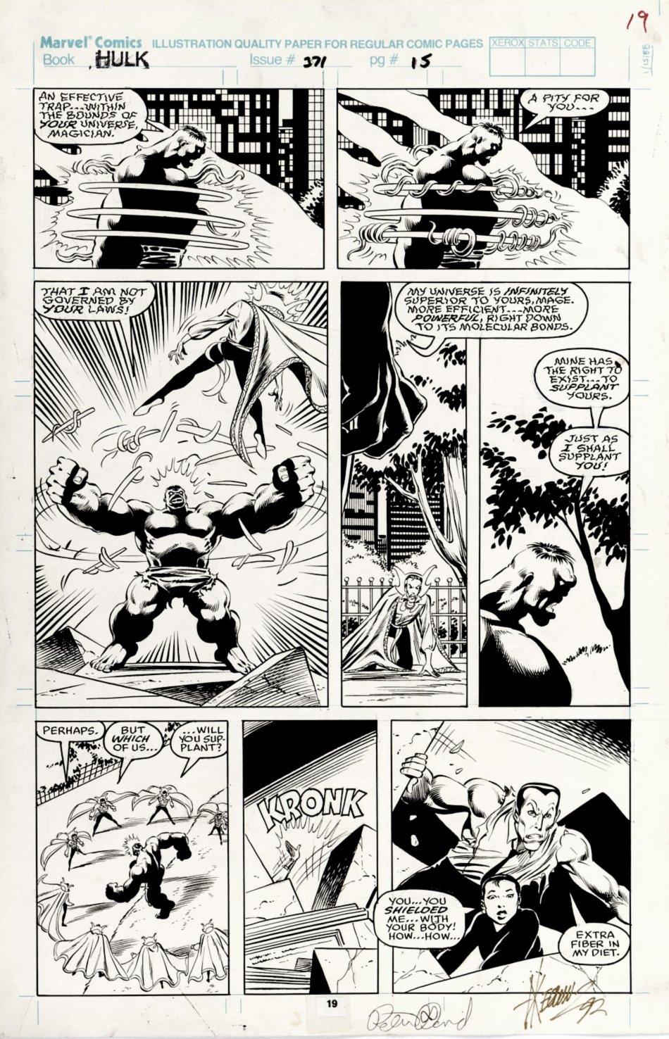 Incredible Hulk #371 p 19 (Hulk In 5 Panels Battling Dr. Strange & Sub-Mariner!) 1990