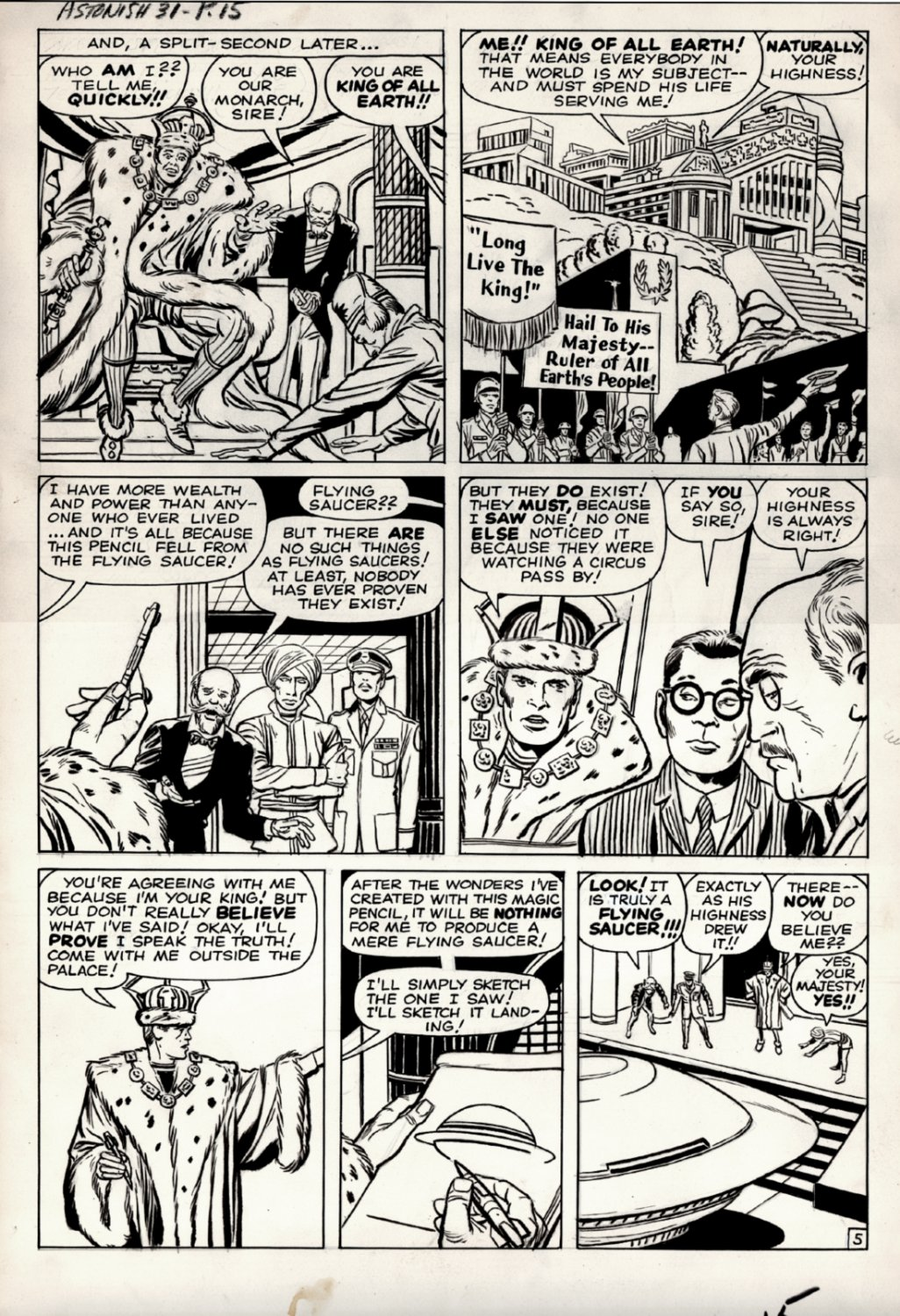 Tales to Astonish #31 p 5 (AN ARTIST GETS A MAGIC PEN FROM A FLYING SAUCER!) Large Art 1961