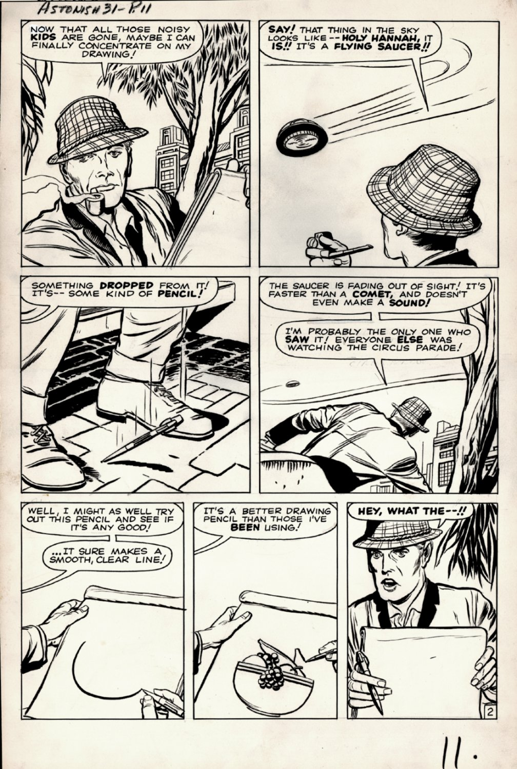 Tales to Astonish #31 p 2 (AN ARTIST GETS MAGIC PENCIL FROM UFO!) Large Art