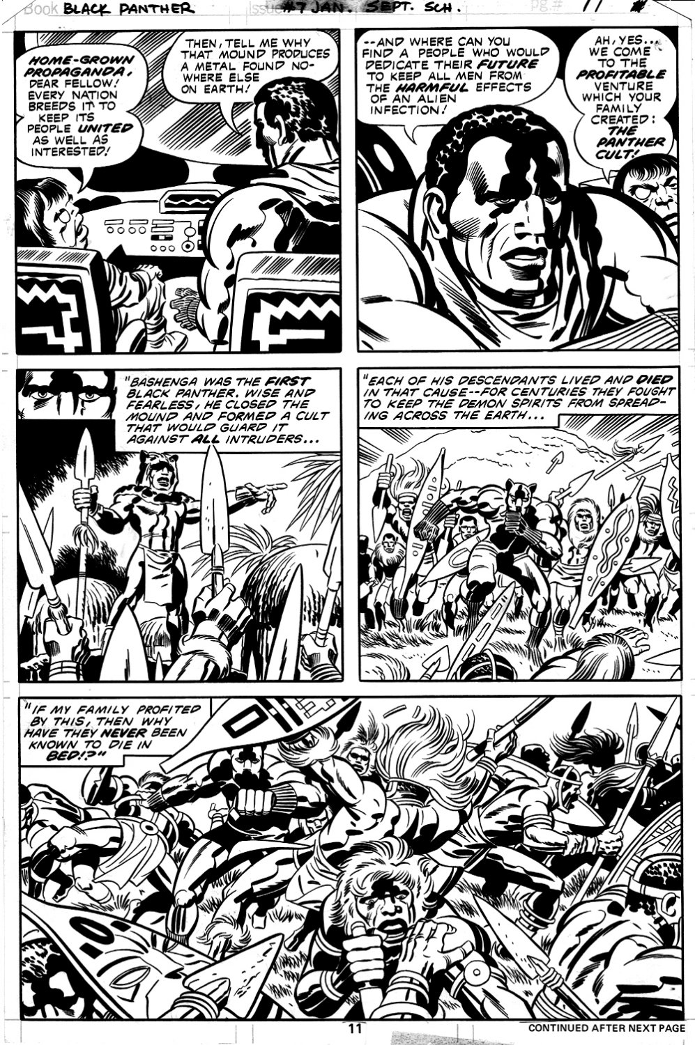 Black Panther #7 p 11 (BLACK PANTHER IN COSTUME BATTLE PAGE!) 1977