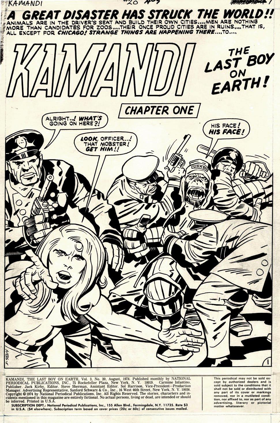 Kamandi #20 p 1 SPLASH (Kamandi, Cops, & Gorilla-Man!) 1974
