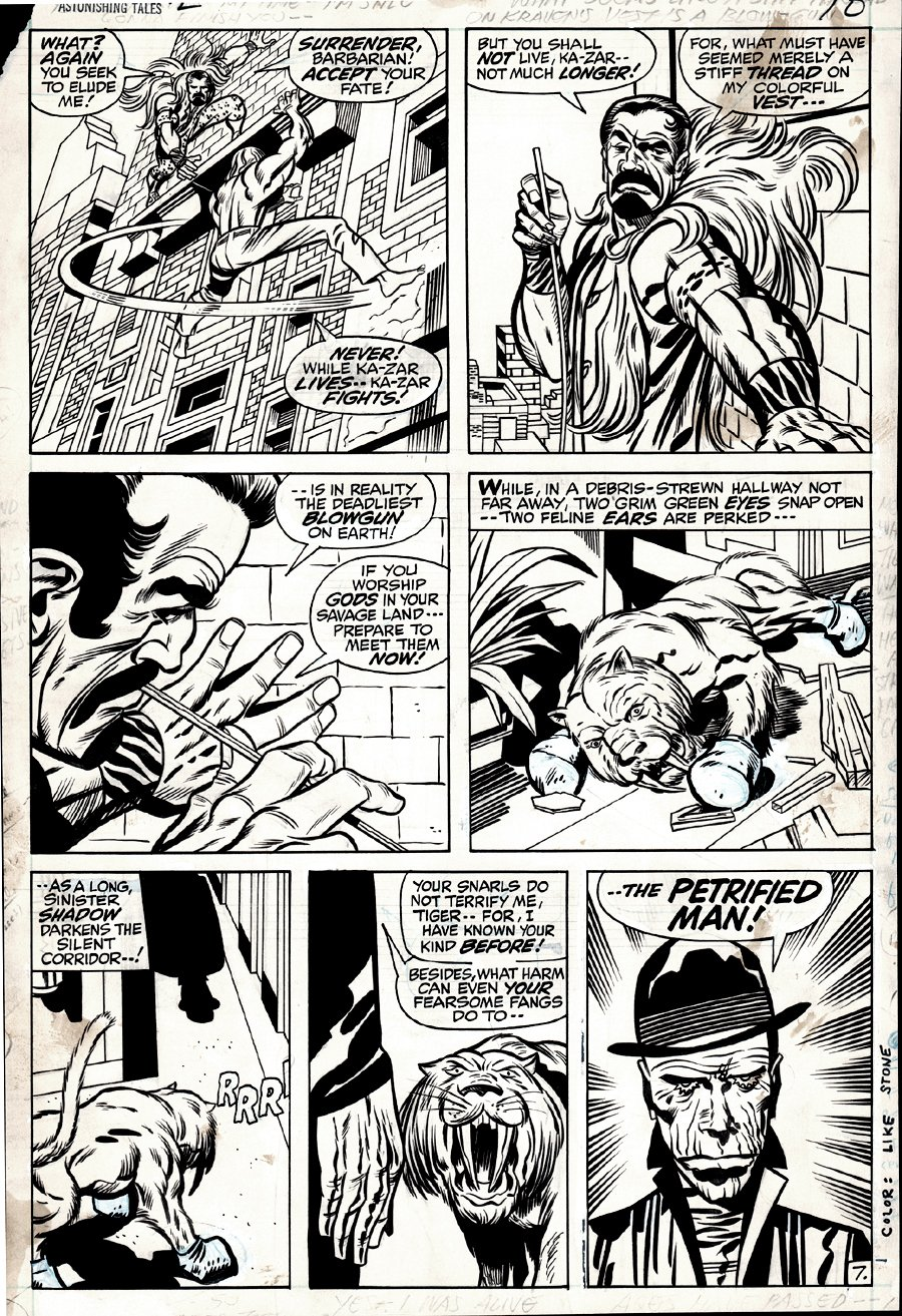 Astonishing Tales #2 p 7 (KA-ZAR BATTLES KRAVEN, VERY FIRST PETRIFIED MAN APPEARANCE ON THIS VERY PAGE!) 1970