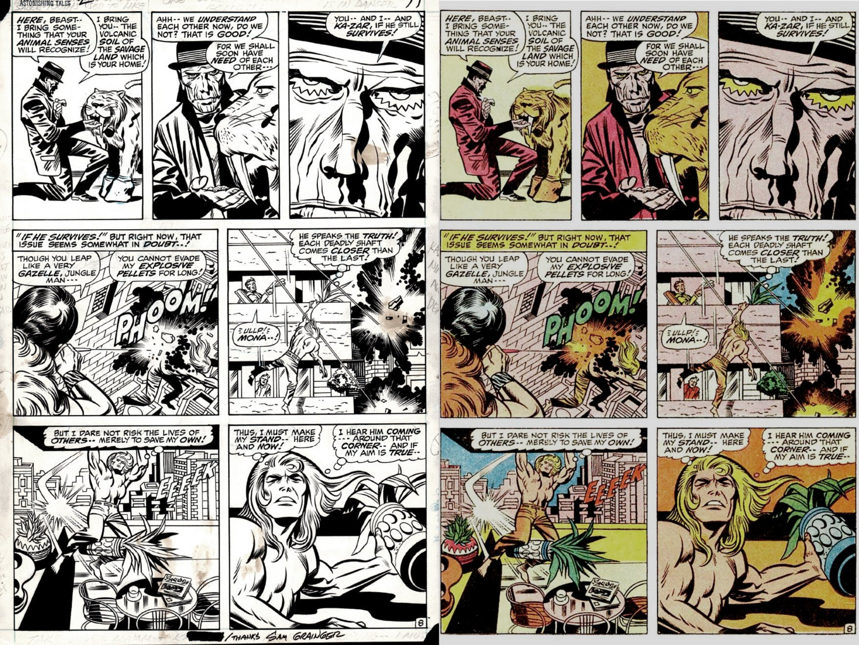 Astonishing Tales #2 p 8 (KA-ZAR BATTLES KRAVEN, VERY FIRST PETRIFIED MAN ISSUE!) 1970
