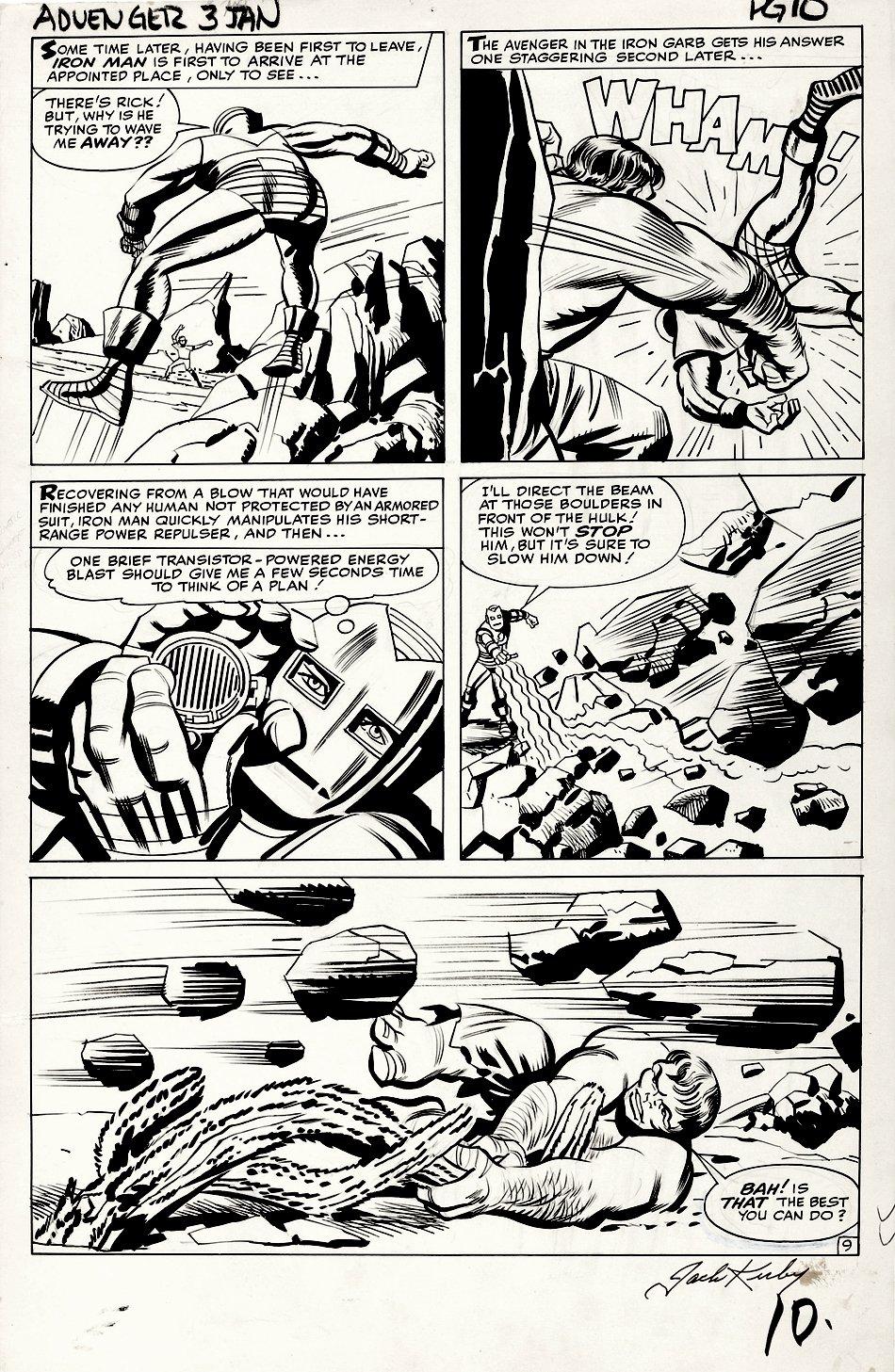 Avengers #3 p 9 (HISTORIC VERY FIRST HULK VS IRON MAN BATTLE PAGE!) Large Art 1963