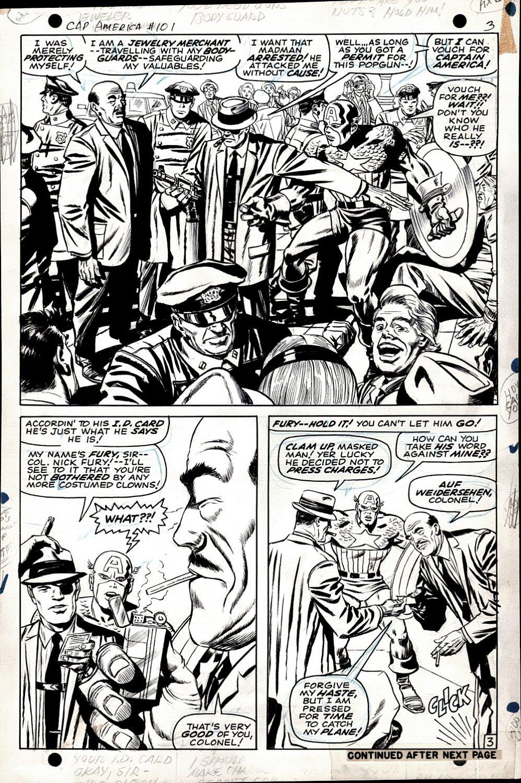 Captain America #101 p 3 Half SPLASH (Captain America & Nick Fury In EVERY PANEL!) 1967